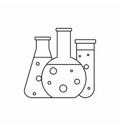 Chemical laboratory flasks icon outline style vector