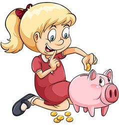 A girl saving her coins vector