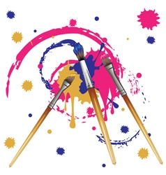 Artist brushes with paint6 vector