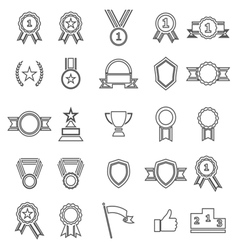 Award line icons on white background vector image