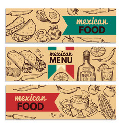 banners set with picture of different mexican vector image
