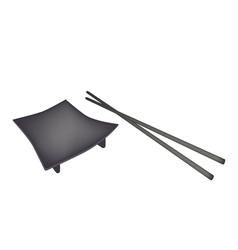 Beautiful black geta plate or wooden sushi board vector