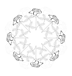 Black and white ornamental round with rose vector image vector image