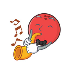 Bowling ball character cartoon with trumpet vector