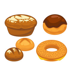 Bread flat icons set for bakery shop or patisserie vector