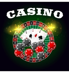 Casino poster of roulette and poker cards vector image