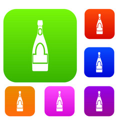 champagne bottle set color collection vector image