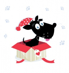 Christmas present with dog vector image vector image