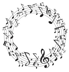 circle music notes vector image vector image
