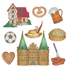 Colorful germany icon set vector