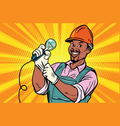 Construction worker with light bul vector