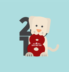 Cute dog celebrating 2018 vector