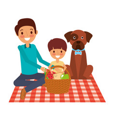 Dad and son their dog sitting on picnic blanket vector
