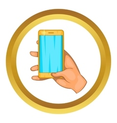 Hand works on a mobile phone icon vector image vector image