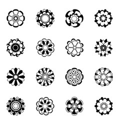 monochrome floral icon set black flowers vector image vector image