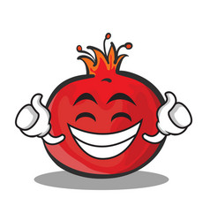 Proud face pomegranate cartoon character style vector