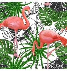 Seamless pattern with flamingo birds and palm vector image vector image