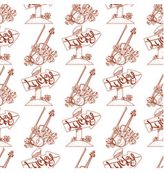 Seamless pattern with violins and wooden arrow vector