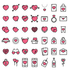 set of 42 simple icons with heart vector image vector image