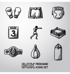 Set of boxing hand drawn icons - gloves shorts vector image vector image