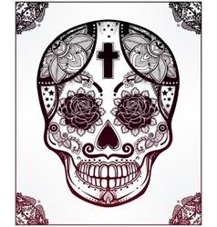Sugar skull in floral frame vector image
