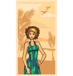Summer and beautiful girl in green dress vector image