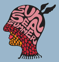 Sun sea summer - set 6 vector