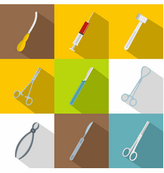 surgery icons set flat style vector image vector image