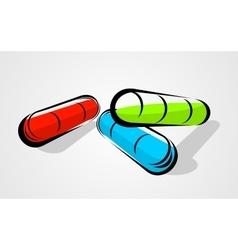 Three capsule pill vector