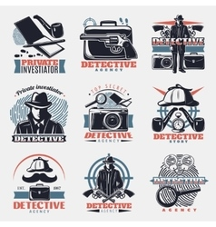 Vintage Detective Labels Set vector image