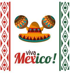 Viva mexico celebration heritage card vector