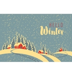 winter night landscape with village vector image vector image