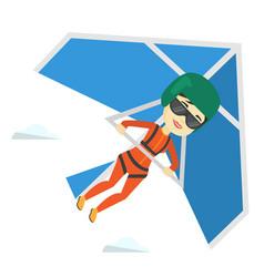 Woman flying on hang-glider vector