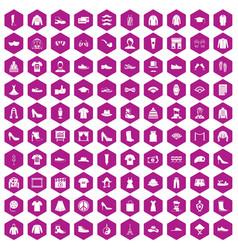 100 fashion icons hexagon violet vector image vector image