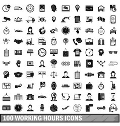 100 working hours icons set simple style vector