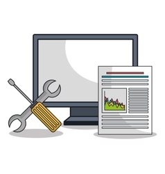Computer settings technology icon vector