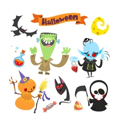 Cartoon halloween characters icons vector