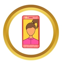 Photos girls in mobile icon vector