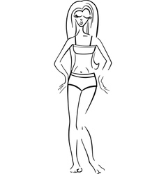 Pretty woman in bikini or swimsuit vector