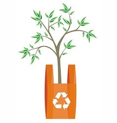Recycling bag tree inside vector