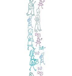 People walking vertical seamless pattern vector