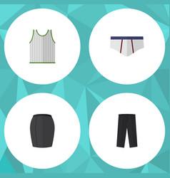 Flat icon garment set of stylish apparel pants vector