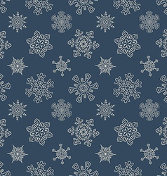 Seamless christmas pattern with drawn snowflakes vector