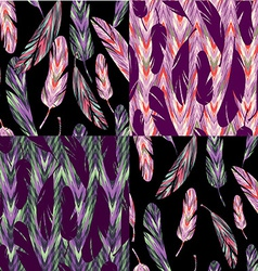 Seamless pattern bright abstract feathers vector