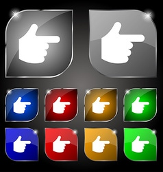 Pointing hand icon sign set of ten colorful vector