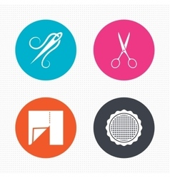 Textile cloth piece icon scissors hairdresser vector