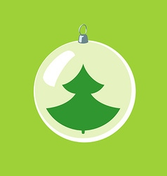 Christmas ball with new year tree inside vector