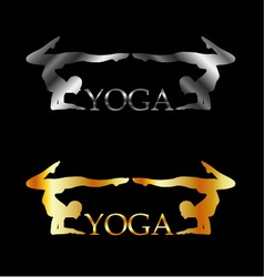 Golden and silver yoga or gymnastics logo vector