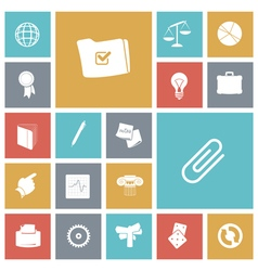 Icons tile business office vector