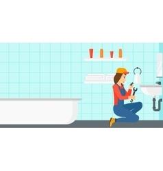 Woman repairing sink vector